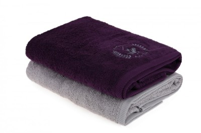 Set 2 prosoape bumbac 100%, Beverly Hills Polo Club, Mov - Gri 70x140cm, cod 202 - Purple, Grey