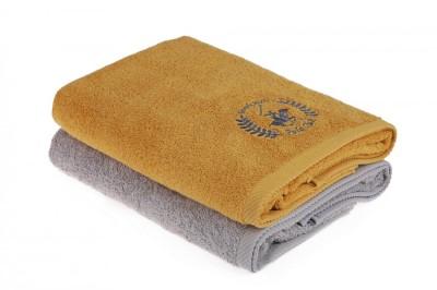 Set 2 prosoape bumbac 100%, Beverly Hills Polo Club, Mustard - Gri 70x140cm, cod 202 - Mustard, Grey