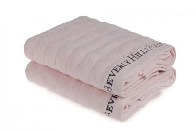 Set 2 prosoape bumbac 100%, Beverly Hills Polo Club, Roz Deschis 70x140cm, 203 - Light Pink