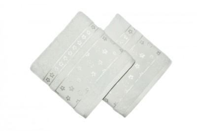 Set 2 prosoape bumbac 100%, bordura jacquard, Bahar Home, Spring - Cream