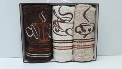 Set 3 prosoape bucatarie bumbac 100%, Coffe 2