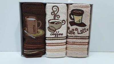 Set 3 prosoape bucatarie bumbac 100%, Coffe 4