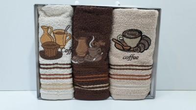 Set 3 prosoape bucatarie bumbac 100%, Coffe 5
