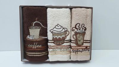 Set 3 prosoape bucatarie bumbac 100%, Coffe