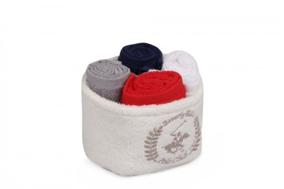 Set 4 prosoape bumbac 100%, Beverly Hills Polo Club, cod Diamont - Marine, Red, Grey, White