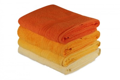Set 4 prosoape bumbac 100%,Hobby Home, 70x140 cm, Rainbow - Yellow