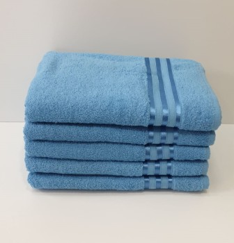 Set 5 prosoape fata bumbac 100% 50x90cm, albastru
