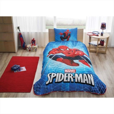 Set 1 persoana cuvertura + fata perna, bumbac 100%, Tac, Spiderman