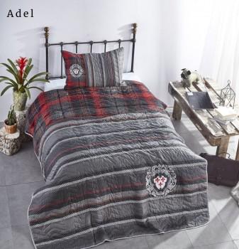 Set cuvertura matlasata + 1 fata perna bumbac 100%, Club Cotton, Adel