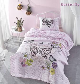 Set cuvertura matlasata + 1 fata perna bumbac 100%, Club Cotton, Butterfly
