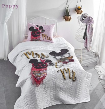 Set cuvertura matlasata + 1 fata perna bumbac 100%, Club Cotton, Poppy
