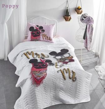 Set cuvertura matlasata + 1 fata perna bumbac 100%, Club Cotton, Poppy
