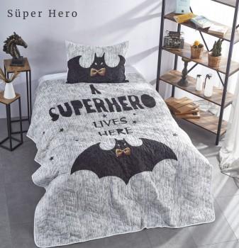 Set cuvertura matlasata + 1 fata perna bumbac 100%, Club Cotton, Super Hero