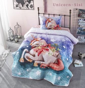 Set cuvertura matlasata + 1 fata perna bumbac 100%, Club Cotton, Unicorn Sisi