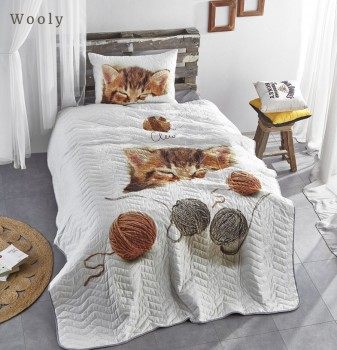 Set cuvertura matlasata + 1 fata perna bumbac 100%, Club Cotton, Wooly