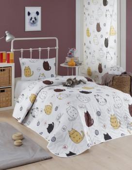 Set cuvertura matlasata + 1 fata perna, Eponj Home, Hello Cats