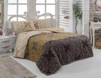 Set cuvertura matlasata 200x220cm+ 2 fete perna 50x70cm Minerva Brown