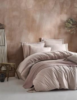 Set de lux 5 piese, lenjerie de pat + cuvertura, Cotton Box, Natura Bej