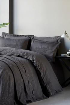 Set de lux 7 piese, lenjerie de pat + cuvertura, Cotton Box, Arden Anthracite