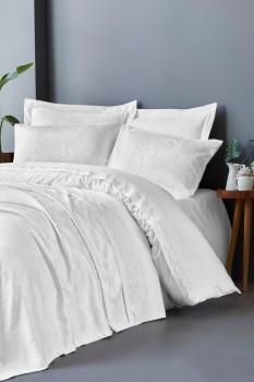 Set de lux 7 piese, lenjerie de pat + cuvertura, Cotton Box, Arden Cream