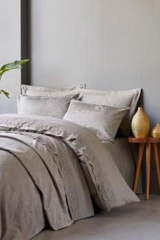 Set de lux 7 piese, lenjerie de pat + cuvertura, Cotton Box, Arden Mink