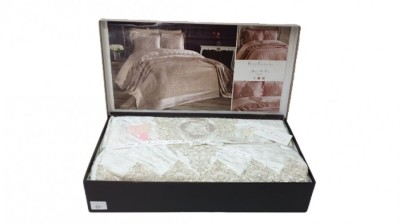Set de lux cuvertura jacquard + cearceaf pat + 4 fete perna, Elisa Cream