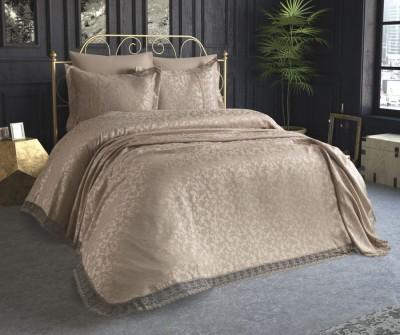 Set de lux cuvertura jacquard + cearceaf pat + 4 fete perna, Miranda Beige