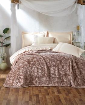 Set de lux lenjerie de pat si patura, Cotton Box, Emboss - Beige