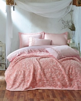 Set de lux lenjerie de pat si patura, Cotton Box, Emboss - Pink