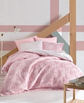 Set de pat 4 anotimpuri bumbac 100% ranforce, Cotton Box, Best Pink