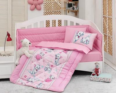 Set dormit pentru bebelusi, cu protectie pt patut, bumbac 100% ranforce, Miyav Pink