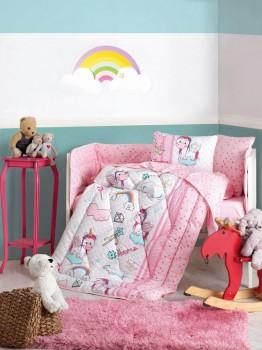 Set dormit pentru bebelusi, cu protectie pt patut, bumbac 100% ranforce, Unicorn Pink