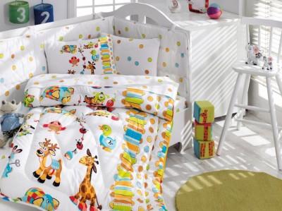 Set dormit pentru bebelusi, cu protectie pt patut, bumbac 100% ranforce,Girafa