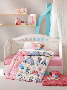 Set dormit pentru bebelusi, cu protectie pt patut, bumbac 100% ranforce, Sevimli Seyahat - Pink