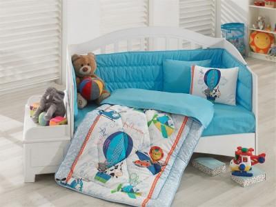 Set dormit pentru bebelusi, cu protectie pt patut, bumbac 100% ranforce, Ucan Dostlar - Blue