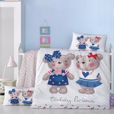 Set dormit pentru bebelusi, cu protectie pt patut, bumbac 100% , Ursulet Albastru