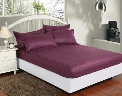 Set husa de pat din damasc+ 2 fete de perna pentru saltea de 140x200cm mov, DHUS12