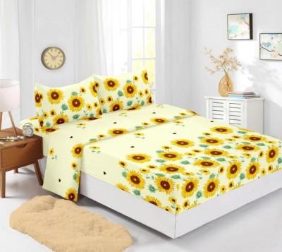 Set husa de pat din finet + 2 fete de perna pentru saltea de 140x200cm, Floarea Soarelui
