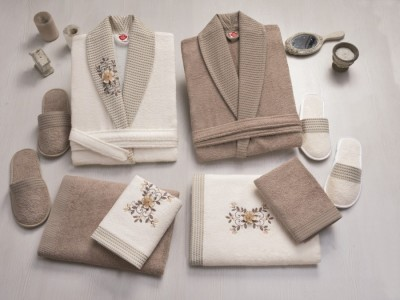 Set matrimonial bambus si bumbac, Cotton Box, Ecru/Bej