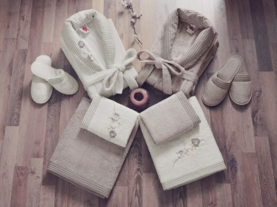 Set matrimonial bambus si bumbac, Cotton Box, Ecru/Maro Pamantiu