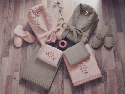 Set matrimonial bambus si bumbac, Cotton Box, Roz Pudra/Bej