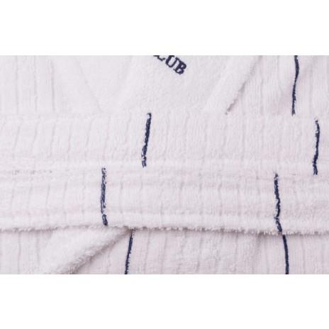 Beverly Hills Polo Club, Halat de baie unisex bumbac, marime XS/S, alb, dungi albastru inchis