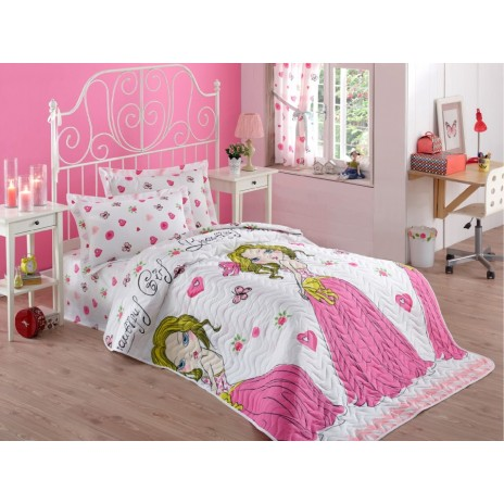 Set cuvertura matlasata + 1 fata perna, Eponj Home, Beautiful Girl