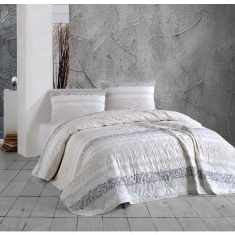 Cuvertura matlasata bumbac 100% 220x240cm + 2 fete perna, Bahar Home, Morel Brown