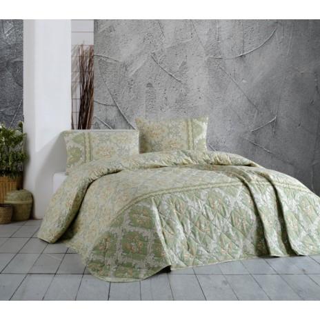 Cuvertura matlasata bumbac 100% 220x240cm + 2 fete perna, Bahar Home, Viviano Green