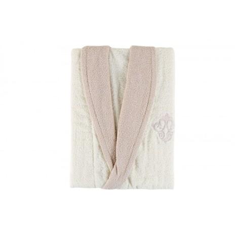 Halat de baie bumbac 100% ,Cotton Box, marime M/L , Ecru-Bej , cod Daily - Ecru, Beige