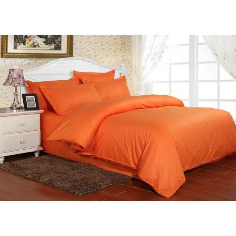 Lenjerie de pat damasc gros 1 persoana, culoarea Portocaliu
