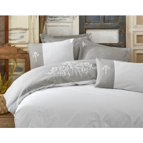 Lenjerie de pat de lux cu broderie, Cotton Box, Adel Grey
