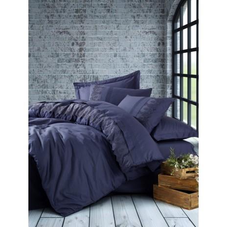 Lenjerie de pat de lux cu dantela, Cotton Box, Enzo Dark Blue (Bleumarin)