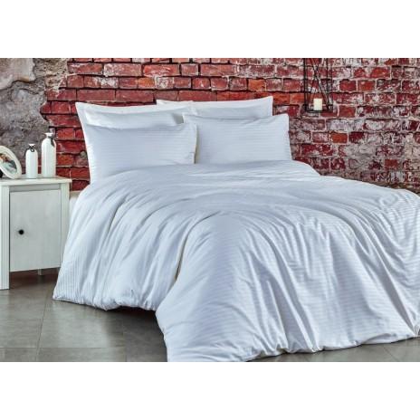 Lenjerie de pat premium satin de lux, Club Cotton, Stripe - Alb